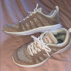 APL Rose gold knit shoes